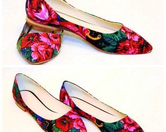 70% SALE Flower flats Pointed flower flats Ballerinas Platok shoes Low heels flats ballerinas