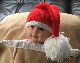Baby Santa Hat Newborn up to Three  Years, Stocking Cap , Christmas  Hat