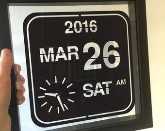 Personalised Flip Clock Special Date Papercut/Wedding/Anniversary Gift/Personalized Wall Art/Framed Paper Cut/Kitchen Wall Art/New Baby Gift