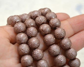 80pcs 10mm Brown Glass Pearl Bead Textured Round 2x16 in Strand