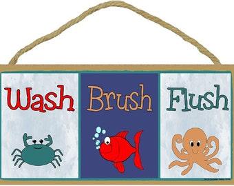 "Wash Brush Flush Fish Crab Octopus Bathroom Sign Plaque 5""x10"""