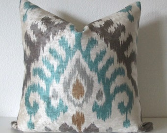 Velvet Ikat Blue Gray Pillow Cover
