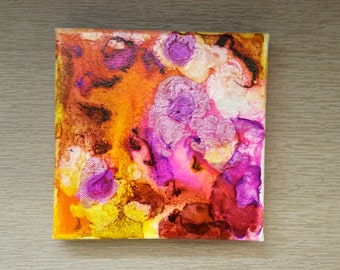 Last Lotus - mixed media painting, abstract, mixie, by Shelli Finch of StressArt