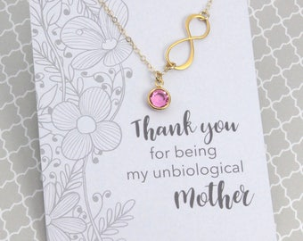 Gift for Unbiological Mother, Gold Infinity Birthstone Necklace, Wedding Bridal Gift for Mother, Message Card Jewelry, Gift for Mom