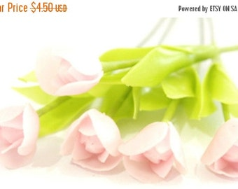 Miniature Polymer Clay Flowers Pink Tulip with Leaves for Handmade Gifts, 6 stems