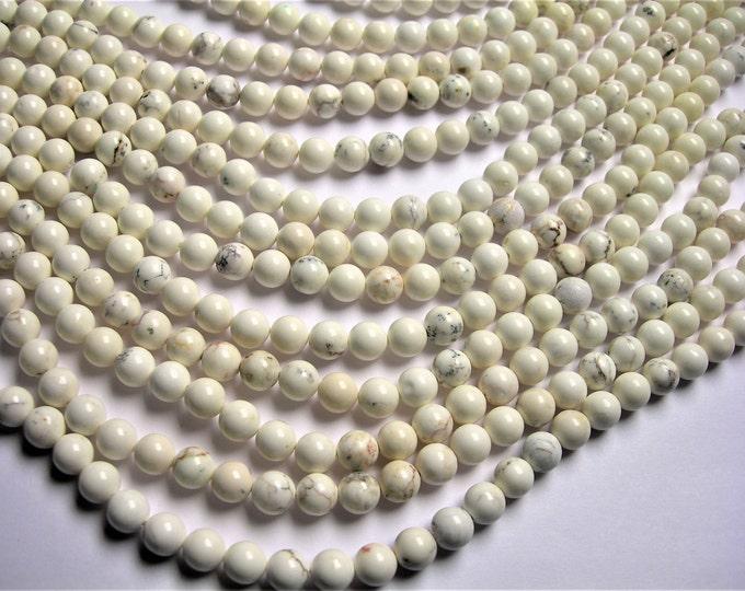 White Cream Howlite turquoise  8 mm round beads 1 full strand  48 beads - RFG172