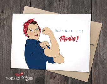 "Rosie the Riveter ""We Did It!"" Thank You Cards- Set of 10 folded greeting cards and envelopes"