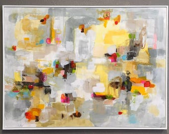 Colorful Abstract Original Painting in Frame - Valley View 48 x 36