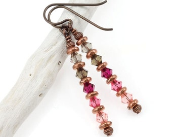 Antique Copper Earrings Copper Jewelry with Ombré Rose Pink & Grey Swarovski Crystal Stick Earrings Teachers Gift for Her Niobium Earrings