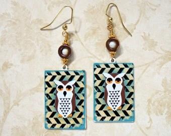 Brown, Ivory, White, Aqua, Gold and Black Owl Earrings (3175)