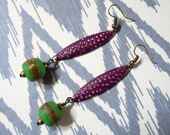 Violet and Green Ethnic Boho Earrings (3564)
