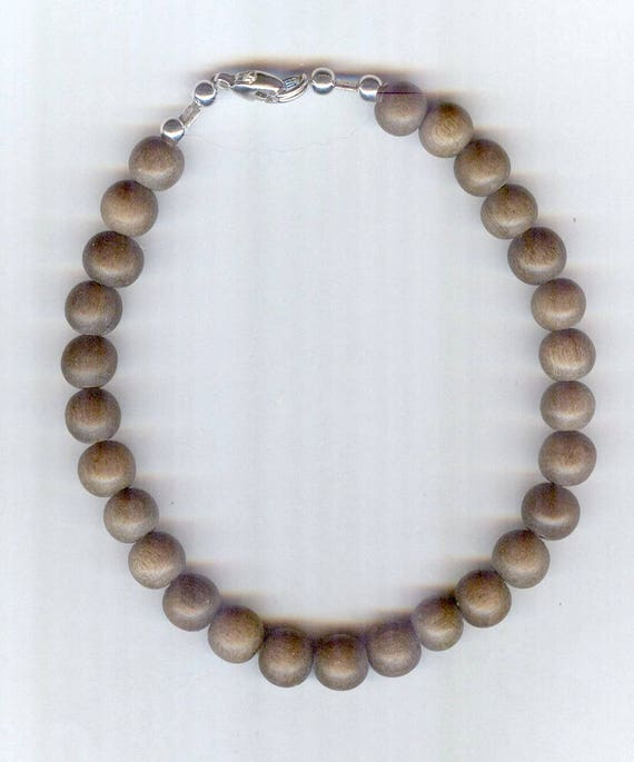 Stunning High Quality MATTE Graywood Wood Beaded Bracelet or Necklace