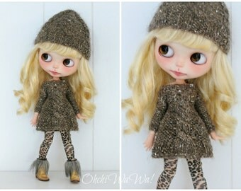 Blythe, baby it's cold outside set hat and sweaterdress