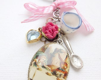 LAST ONE Alice in Wonderland inspired keyring / keychain - At the Tea Party