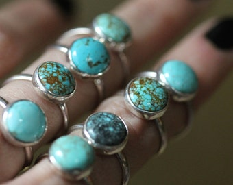 Nevada Number Eight Turquoise Stacking Ring - Sterling Silver - Your Size