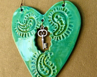 Paisley Accessory, Heart ornament, ceramic wall hanging, wall decor, Valentine's Day gift, best friend gift, turquoise heart, folk art,