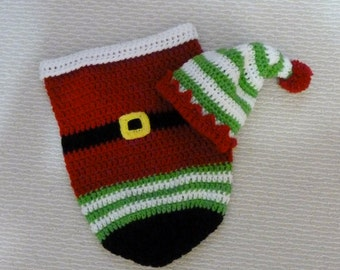 Crocheted 0-3 month Christmas Cocoon- Ready to Ship