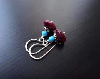 Ruby and Turquoise Earrings, Dangle Earrings, July Birthstone, Sterling Silver