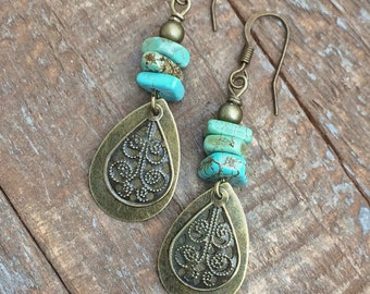 Boho Jewelry, Boho Dangle Earrings with Green Turquoise