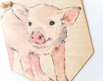 Printed Plywood Pennant | Watercolor Piglet | Gifts under 15