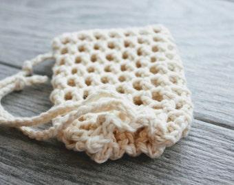 Organic Cotton Mesh Soap Saver - Crochet Mesh Soap Bag - 100% Organic Soap Sack - Soap Envelope - Mesh Soap Cozy - Crochet Soap Holder