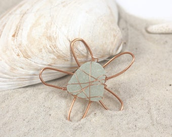 Aqua Copper Sea Glass Daisy Flower Necklace Pendant