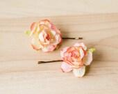 peach little rosie flower pins // set of two / bridesmaid hair pin, flower bobby pins, floral hair clip, flower pins, flower clips