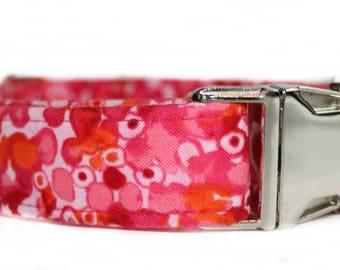Pink Dog Collar, Girl Dog Collar, Custom Dog Collar for Girl, Nickel Plate Hardware, Dog Collar for Girl, Metal Buckle, Summer Dog Collar