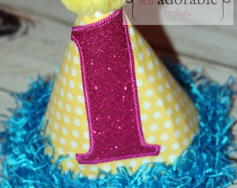 First Birthday Hat, Made to Match our Rubber Duck Birthday Set, FREE MONOGRAMMING, Pink Glitter, Appliqued Birthday Hat, Smash Cake Set