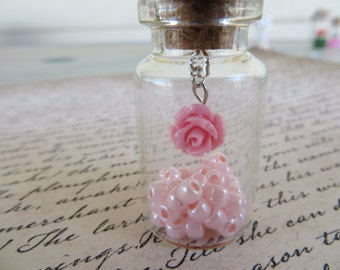 Glass Jar Pendant Necklace With Pink Rose And Soft Pink Glass Beads