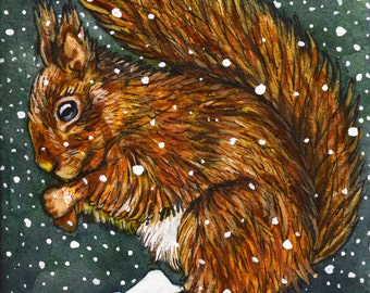 Squirrel original Painting - 8 Snow Squirrel