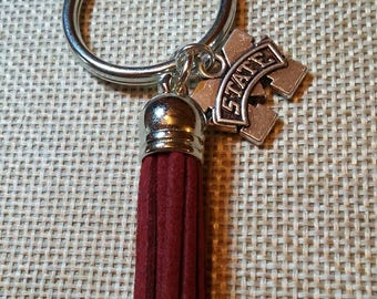 Mississippi State Charm Keychain with Silver Keyring and Maroon Tassel MSU