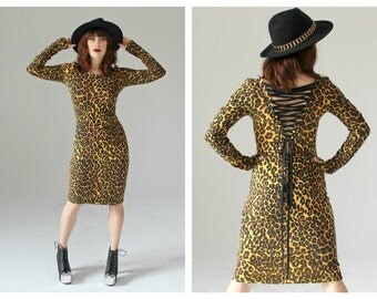 Leopard BETSEY JOHNSON Lace Up Dress- M, 90s Glam Rock Stretch Club Kid Sexy Bodycon