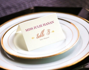 """Hot Pink, Orange and Gold, Vibrant Wedding, Indian Wedding Placecards, Summer Table Decor - """"Modern Henna"""" Tented Placecard v1 - DEPOSIT"""