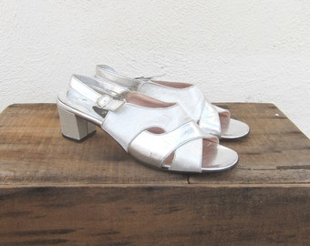 60s Silver Metallic Chunky Heel Sandals Kitten Heel Trend Sparkle Slingback Shoes Ladies Size 8
