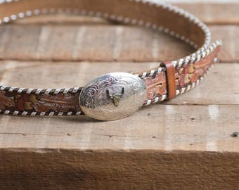 36-41 Tooled leather belt with small long horn buckle - vintage western - silver plated- acorns painted -1990's brown leather large xl