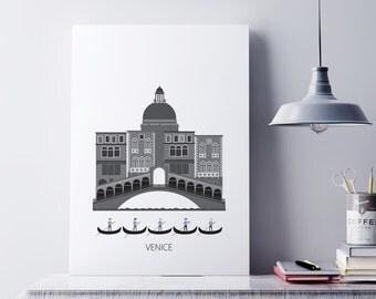 Venice, Venedig, Digital download, Ponte dei Sospiri & Gondolas, city, Art Scandinavian design, modern poster