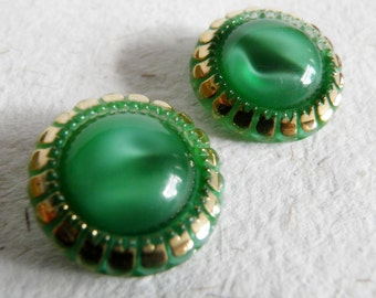 Green Glass Buttons Moon Glow with Gold