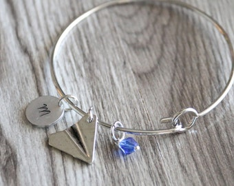 Airplane Bangle, Personalized Initial and Birthstone, Paper Airplane Bangle, Birthstone Bangle, School Bangle, Plane Bracelet Hand Stamped
