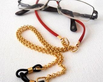 Red Leather Eyeglasses Chain, Eyeglasses Holder, Sunglasses Chain, Gold tone Reading Glasses Holder,Gift Idea,Gift For Mom,Eyewear necklace