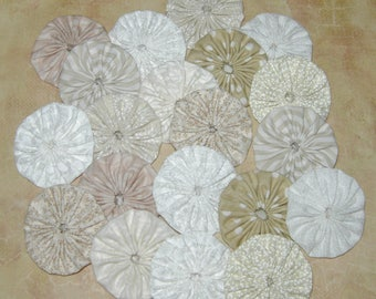 """Fabric YoYos, 20  Mixed, Cream, Beige And White, 2"""" Size, Crafting, Appliques, Quilting"""