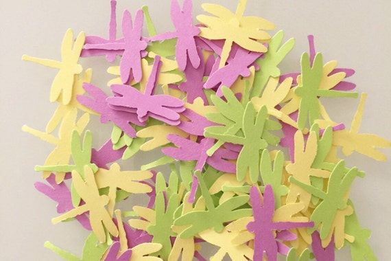 100 Pieces of Spring Garden Dragonfly Hand Punched Confetti - Perfect for Weddings, and Showers available in your choice of colors
