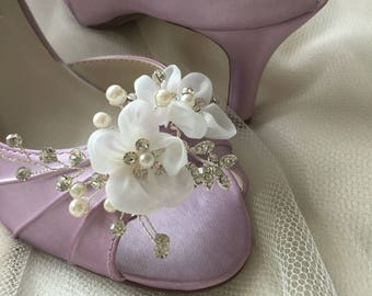Wedding Shoes - Swarovski Crystals & Pearls - Bridal Shoe - Choose From over 200 Shoe Colors - Short Wedding Heel Peep Toe Shoes For Wedding
