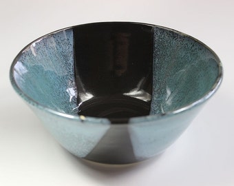 Ceramic Stoneware Bowl in Blue & Black for the Table Contemporary Pottery for the Home