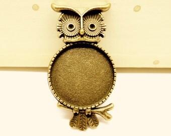 6 x Owl Rings - Bronze Adjustable Rings - Ring Blanks - 20mm Bezel