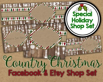 Country Christmas Etsy Banner Set - Christmas Shop Banner - Holiday Facebook Graphics - Christmas Shop Banner - Holiday Etsy Banner Shop Set