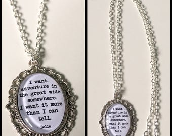 Beauty and The Beast Belle Quote Cameo Necklace Silver