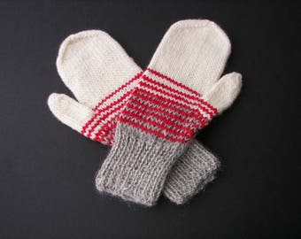 Hand Knit Color Block Mittens in MERINO ALPACA Wool Gray Red White / Thoughtful Gift