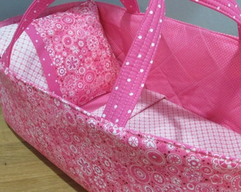 Doll Carrier, Will Fit Bitty Baby and Stella Dolls, Pink Flowers with Pink Lining, 16 Inches Long, Doll Basket