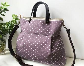 2 way Cross Body Bag / Messenger Bag / Diaper bag / Handbag/ Leather straps /Women messenger / Travel bag with leather strap -Ready to ship
